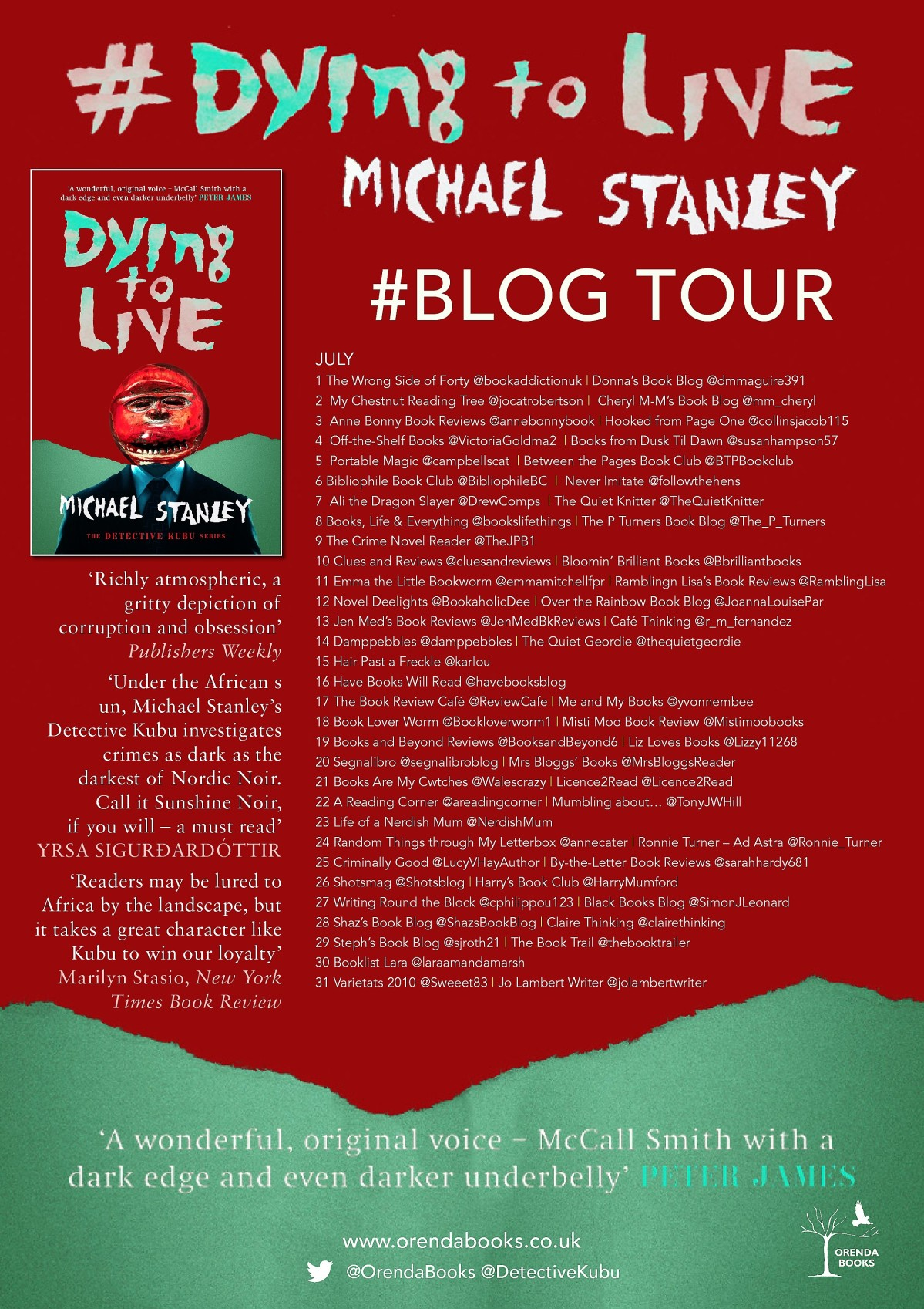 Dying to Live by Michael Stanley #BookReview#BlogTour